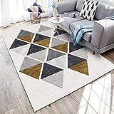 WQ-BBB Sin desvanecimiento Diseño geométrico Alfombra Juegos Bebes sin Pelo Negro Gris marrón alfombraspara Mesa Salon Pasillo jarapas 160X200cm