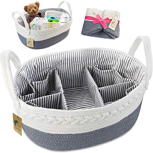 Organizador de pañales para bebé – Extra grande para pañales, cesta de almacenamiento para guardería, cesta de regalo para baby shower con 8 bolsillos, 5 compartimentos y 2 divisores extraíbles