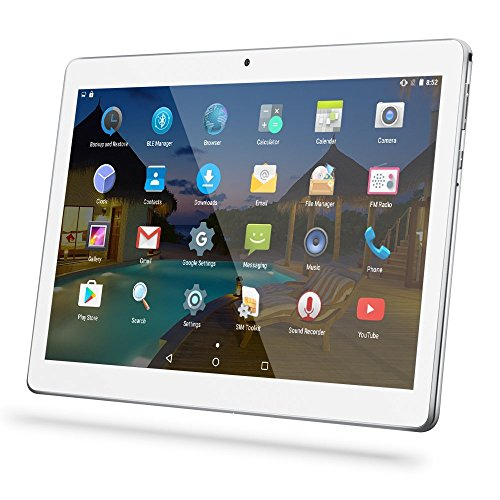 Tablet YUNTAB K107 da 10,1 pollici (3G, MTK6580 Quad-Core, Android 5.1, doppia fotocamera, Google Play, ROM da 1 GB RAM-16GB, Bluetooth 4.0, GPS, WiFi, OTG) (Argento)