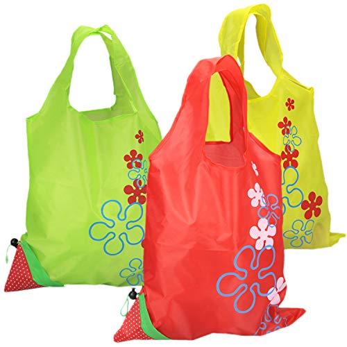 com-four® 3X Faltbare Einkaufstasche Erdbeer-Design aus Nylon, Wiederverwendbare Einkaufstüte in Transporttasche (03-teilig - rot. grün. gelb)