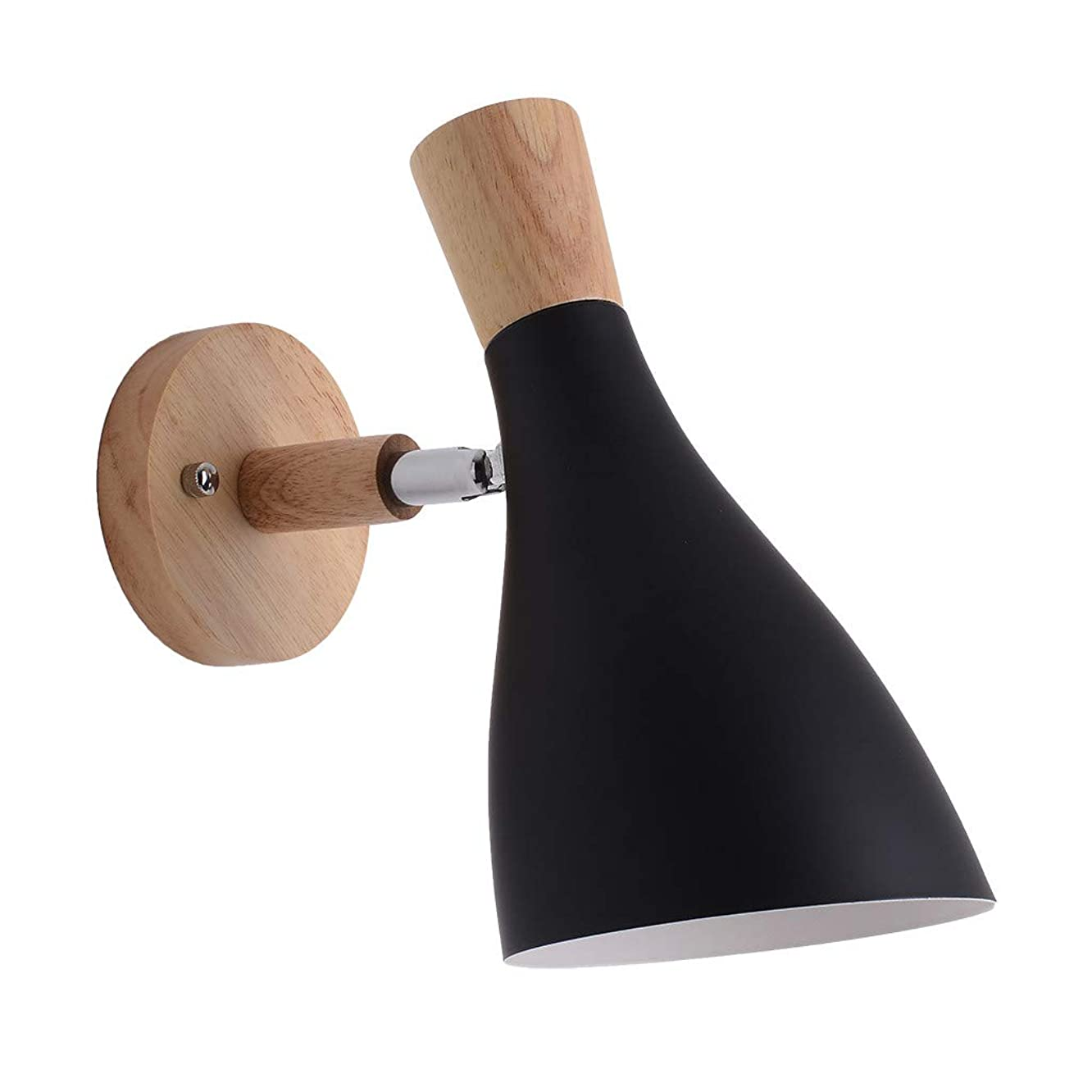 NszzJixo9 Creative Wall Lamp Swing Head Sconce Light Bedroom Lighting Bedside Reading Lamp Iron Art Sucking Disc Iron Craft and Wood Pattern are More Natural (Black,)
