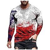 D-Rings Camisa hawaiana para hombre, corte ajustado, con botones, para otoño e invierno, cuello redondo, manga larga, rojo, XXXL
