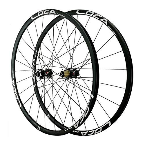 Rueda para Bicicletas,26/27,5/29 Pulgadas(700C) Llanta Ultraligera de Aleación de Aluminio Eje de Barril 24 Orificios Radios de Tiro Recto Deportes (Color : Black, Size : 26in)