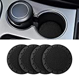 Car Cup Holder Coaster, 4 Pack 2.75 Inch Diameter Non-Slip Universal Insert Coaster, Durable, Suitable for Most Car Interior, Car Accessory for Women Men (Black)