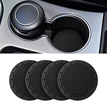 Car Cup Holder Coaster 4 Pack 2.75 Inch Diameter Non-Slip Universal Insert Coaster Durable Suitable for Most Car Interior Car Accessory for Women Men  Black