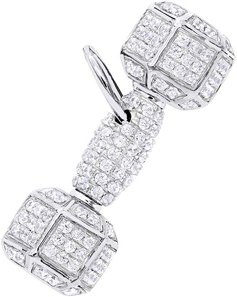 Mens Dumbbell Charm Barbell Round Diamond Pendant 1.2ctw in 10k Gold by Luxurman