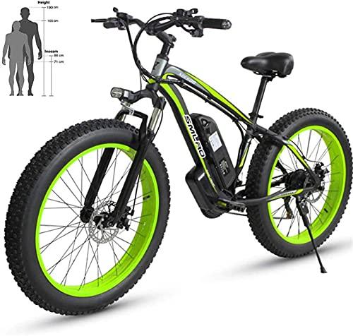 ZMHVOL Ebikes, Bicicleta de Playa eléctrica 48V 26 '' Neumático Gordo Puente Potente Moot Mountain Snow Ebike Aluminio Aley Bicycle ZDWN (Color : Black Green, Size : 36V10AH)