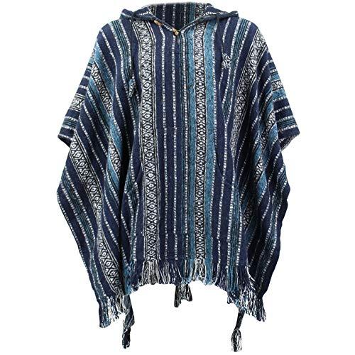 Poncho hippie con capucha estilo mexicano, algodón, algodón Gheri Multicolor...