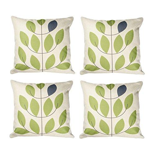 Topfinel Kissenbezüge in Baumwollen- und Leinenoptik Druckkissenhülle Zierkissenbezug für Couch Café Patio Büro 45 x 45 cm 4er Set Grüne Blatter
