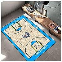 バスケットボールプリントエリアrug雷、カーペットフロアマット装飾バスケットボールポスターリビングルームの寝室のための掃除が簡単 blue-180x280cm