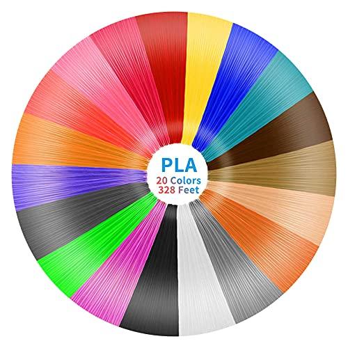 3D Stift Filament PLA,Ccopnts 20 Farben Insgesamt 328ft, je 5M – 3D Pen PLA Filament 1,75mm, einschließlich 3 verschiedenen fluoreszierender Farben,3D Stift Farben Set für 3D Stift and 3D Druck Stift