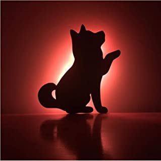 yangww Night Light 7 Color Remote Shadow Projection Lamp Led Night Light Cat Shape Bedroom Decor Atmosphere W Lamp