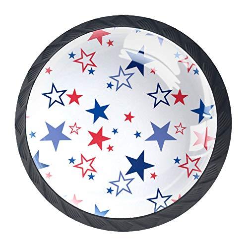 4 pomos redondos para aparador – Manija decorativa colorida con diseño floral para decoración del hogar, pomos para tirar de estrellas, color blanco