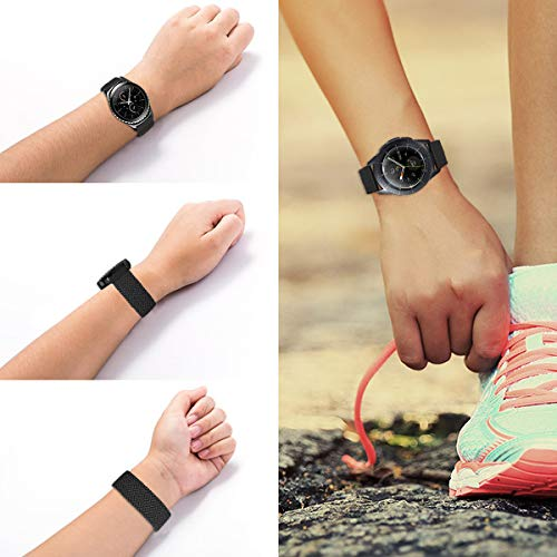 MroTech 20mm Uhrenarmband kompatibel für Samsung Galaxy Watch 42MM/Active 2/Active2 40mm/44mm/Galaxy Watch3 41mm Armband für GT 2 42MM/GTR 42 mm/GTS Nylon Loop Elastic Woven Band Kohlenschwarz/S