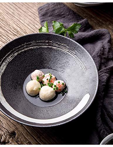 Ceramic Noodle Bowl Ronde Porselein Dinner Plates, 9 Inch (Color : C)