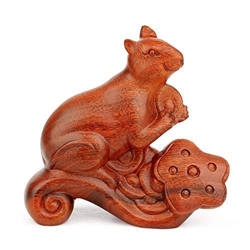 ZFF Ratón de talla de madera manualidades, decoración casera, regalo de cumpleaños, 21 × 6,8 × 19,5 cm