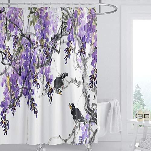 DLSM Tinta púrpura Pintura patrón de Flores Retro hogar y Hotel Impermeable Multifuncional baño Cortina de Ducha-El 180x200cm Poliéster Cortinas de Baño Decorativas Impermeable
