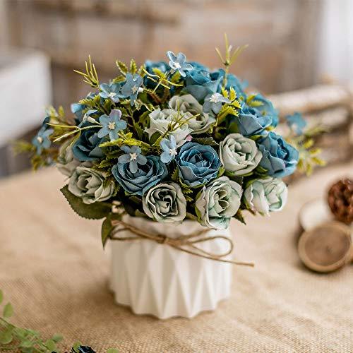Bouquet di rose artificiali in seta, decorazione con vaso in ceramica, per tavolo, casa, ufficio, matrimonio (Blue Rose)