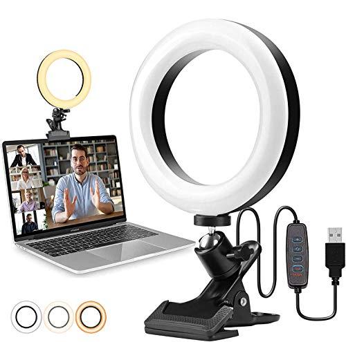 COTOP Anillo de luz LED de 6.1'', luz de videoconferencia Luz de Anillo Selfie para Video, fotografía, Youtube, Maquillaje, lámpara de Anillo Ajustable de 360°,3 Modos de iluminación y 10 Brillos -CO