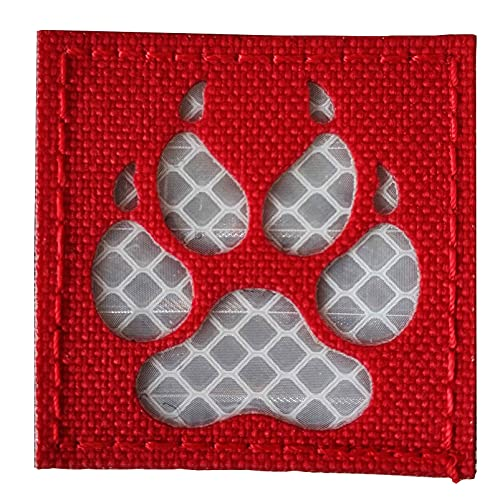 K9 Footprint IR Infrared Reflective Velcro Patch Tactical Service Dog Vests/Harnesses Emblem Embroidered Military Hook-Fastener Morale Backing (Red)