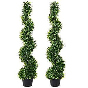 DearHouse 4 Feet Artificial Cypress Spiral Topiary Trees, 2Pack Potted Indoor or Outdoor Spiral Boxwood Trees