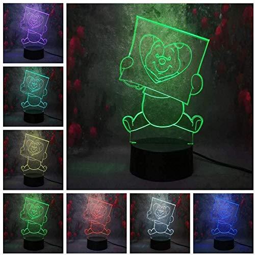 Mignon de bande dessinée Winnie l'ourson 3D veilleuse Led couleur Illusion enfants enfants lumière de nuit cadeau d'anniversaire chambre Table lampe de bureau