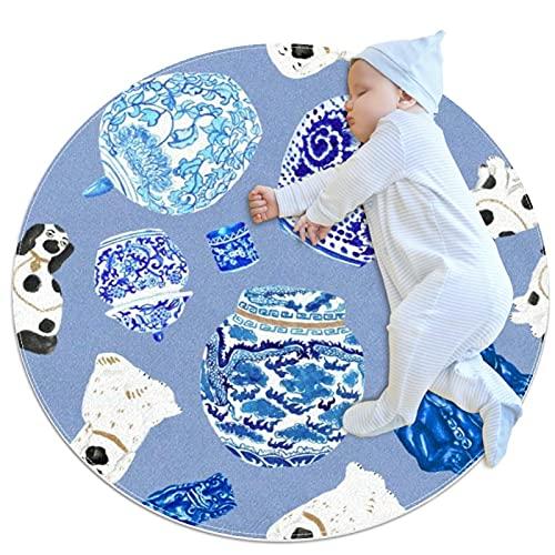 Alfombra Suave Redonda 80x80cm/31.5x31.5IN Alfombrillas Circulares Antideslizantes para el Suelo Alfombrilla para pie de Esponja Absorbente,Perros y cerámicas