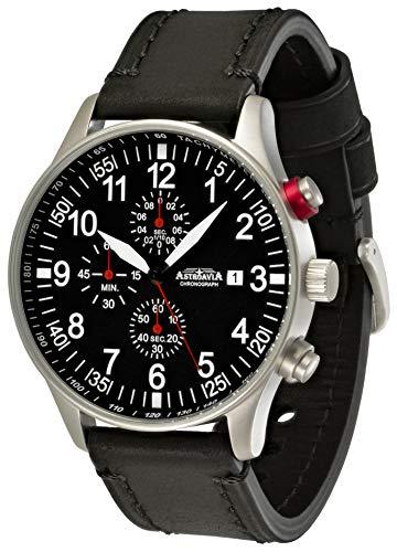 Astroavia Herren Armbanduhr Chronograph Quarz mit Leder Armband N57L4