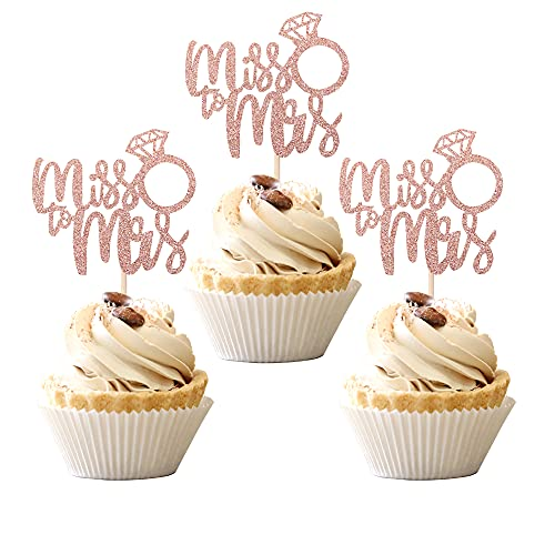 36 PCS Miss to Mrs Cupcake Toppers with Ring Wedding Engagement Cake Picks Decorations for Bridal Shower Birthday Party Supplies Rose Gold