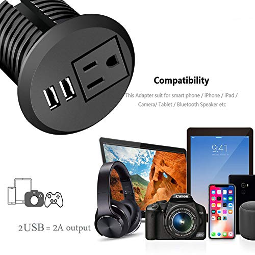 Desktop Power Grommet,Desk Grommet Outlet 2 inch Hole,Power Grommet with USB, Easy Access to 1 power Source Along with 2 USB Power Port Connections