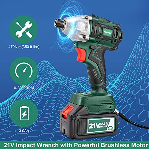HUYOSEN 21V Max,Professional Brushless Cordless Impact Wrench 3/4 inch,350ft-lbs High Torque Power Impact Wrenches with 4Pcs Driver Impact Sockets and 2 Pcs 3.0Ah Battery