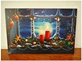 XYLUCKY Pintar con pintura de la decoración de Navidad LED luz lienzo pared arte paisaje , 40*50