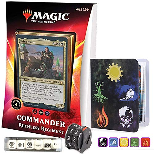 Totem World Ikoria Commander 2020 Deck Ruthless Regiment Bundle with 1 Life-Counter Spindowns, 1 Collectors Binders and 1 6pcs D6 Dice - MTG Lair of Behemoths Holiday Bundle Box Gift Set