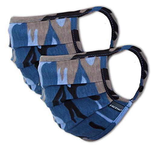 2er-Pack Abdeckung Kinder Junge & Mädchen waschbar, Camouflage blau | aus 100% Baumwolle Oeko-TEX 100 Standard Earloop-Design | Wiederverwendbare Behelfs-Abdeckung für Mund Nase | Ab 10