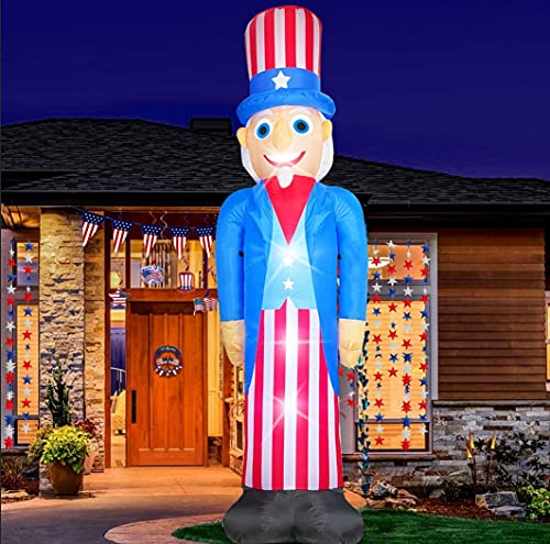 TURNMEON 8 Foot Giant 4th of July Inflatables 4th of July Decorations Outdoor Uncle Sam Decoration Blow Up Red White Blue Light up with Tether Stakes Independence Day Patriotic Decor Home Yard Garden