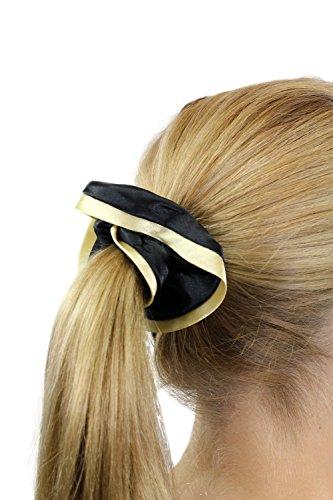 Chouchou élastique, style femme de chambre / femme de ménage / Lolita gothique, couleur noir aux bordures dorées Z021