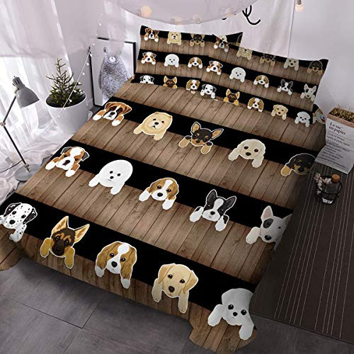 Barns påslakanset 3D valp hundar påslakan rustikt trä utseende mönster sängset 3 delar 1 påslakan och 2 örngott söta sängkläder för barn (king ing)