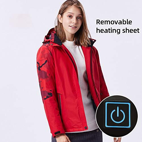 Roboraty Verwarmde damesjack met USB-aansluiting, softshell verwarmbare jas, multifunctionele winter verwarmde jas batterij en oplader voor skimotorfietsen Large rood