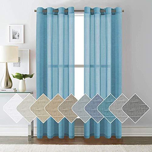 ForenTex Cortinas Confección 145x260 cm Visillos para Ventanas Puertas de Salón Habitación Dormitorio Terraza, Polyester, Perlado Celeste L-0575