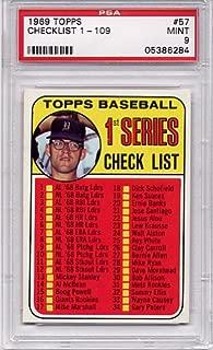 1969 Topps 1st Series Checklist 1-109#57 PSA 9 MINT (Graded Baseball Cards)