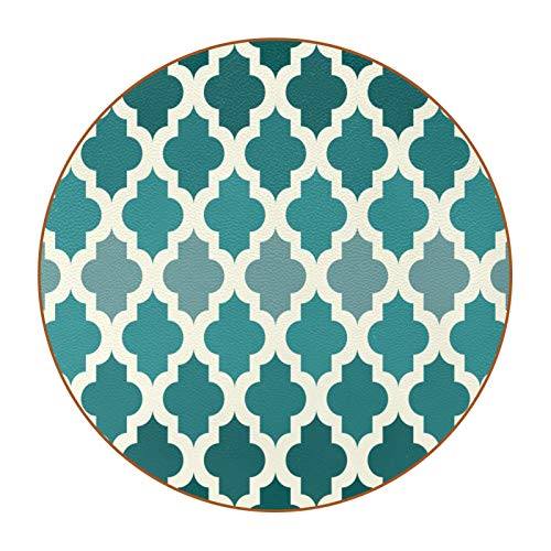 White Moroccan Pattern-Emerald Green Coasters for Drinks,Naughty Gifts for Apartment Decor,Leather Coasters Protect Your Furniture from Stains,6PCS