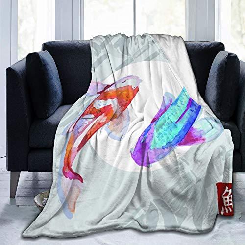 CVSANALA Manta de Cama,Carpas japonesas de Acuarela Koi Nadando,Sofá Cama de Microfibra para Todas Las Estaciones,60' x 80'