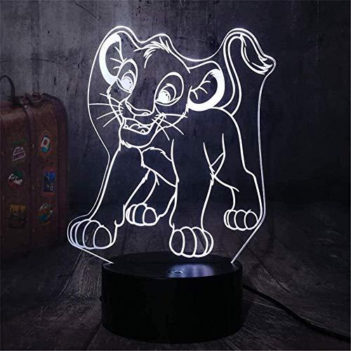 The Lion King Simba B 3D Luz nocturna LED de ilusión óptica lámpara 16 colores regulable USB Powered Control táctil con control remoto para niños niñas niños regalos