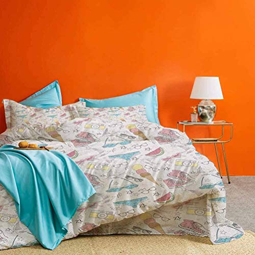 Teen Room Bedding Duvet Cover 3 Piece Set Girlish Sunglasses Camera Ice Cream Underwear Watermelon Modern Graphic Print Best Material/Highly Durable Multicolor 1 Duvet Cover and 2 Pillowcases Twin XL
