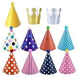 Dokpav Cappelli di Compleanno, 11pcs Cappelli per Feste di Compleanno, Cappellini Capodanno, Cappelli Festa Compleanno per Bambini