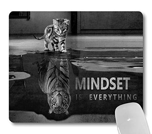 Wknoon Mindset is Everything Inspirational Quote Mouse Pad, Cute Cat Stared at Its Reflection Tiger Funny Mouse Pads Motivational Mat