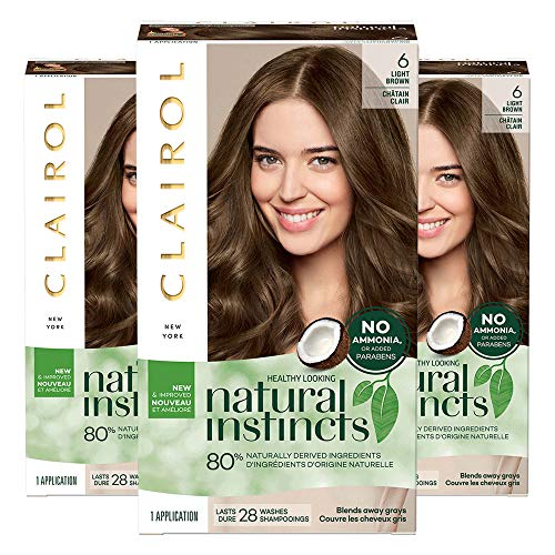Clairol Natural Instincts Semi-Permanent, 6 Light Brown, Pack of 3