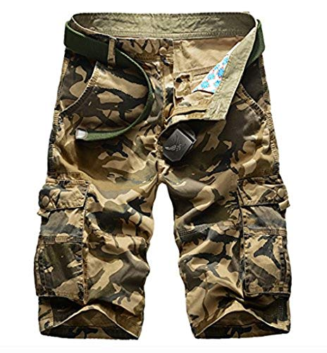 Elonglin Homme Eté Cargo Shorts Bermuda Pantacourt Vintage Shorts de Sport Outdoor Shorts Militaire Cargo Shorts Camo Coton sans Ceinture Camo Kaki FR 34 (Asie 36)