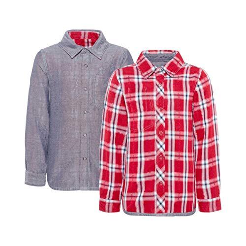 NAME IT Chemise réversible à manches longues motif carreaux chemise bébé vêtements bébé, Ruby Wine