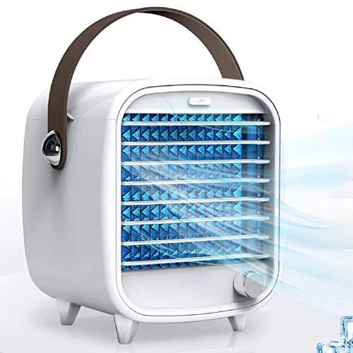 FASZFSAF Aire Acondicionado PortáTil PequeñO USB Enfriador Aire Escritorio Caja Hielo Incorporada Ventilador RefrigeracióN Viento Fuerte CaracteríSticas Luz Nocturna